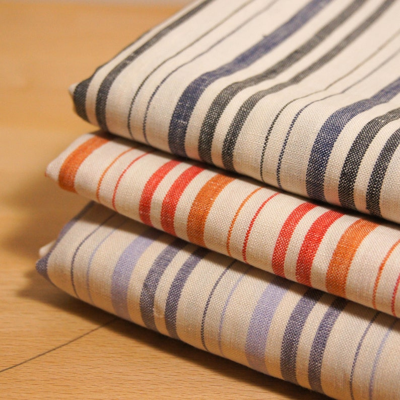Tea Towel Fabric with stripes by 0 5 Metre, Pure linen Fabric, Natural  Linen Fabric