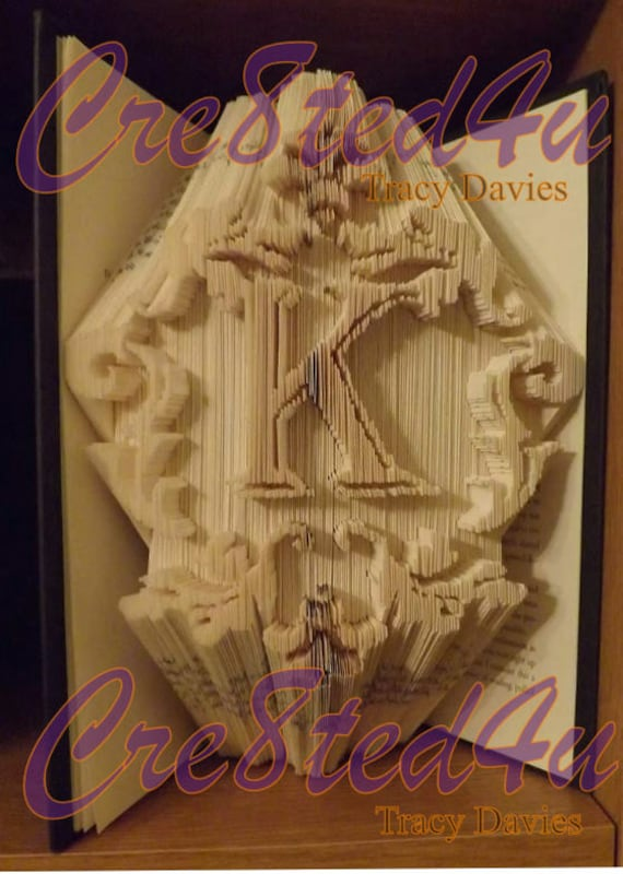 Mono L Letter Initial Combi Cut and Fold Book Folding PATTERN ONLY
