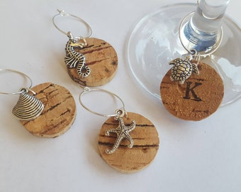 Shell, Seahorse, Starfish, or Turtle Wine Glass Charms - Handmade Personalised Seaside & Beach themed Cork Charms for Summer occasions