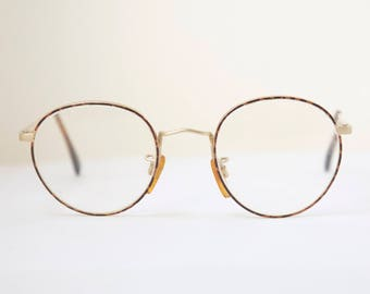 51fc6a29754a Vintage GIORGIO ARMANI Off Round Lens Eyeglasses   Tortoise and Matt Gold    Frame Italy   Model  201 725   Retro Collectible Rare  1142