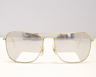 47a82ec0d6a516 Vintage RAY BAN CARAVAN Sunglasses   Bausch   Lomb   Mirror Lenses with  Clear Cut Out   Retro Collectable Rare  1733