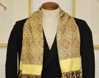 Vintage 1930's/40's Yellow & Red Opera Scarf / Retro Collectible Rare
