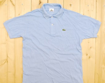 8cfbc4ab8b12ef Vintage 1980 s Solid Sky Blue LACOSTE Polo Shirt   France   Retro  Collectable Rare