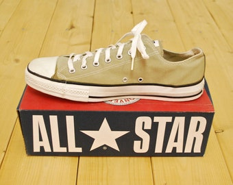 360fb5a80a7f Vintage 1990 s Deadstock Olive Grey CONVERSE CHUCK TAYLOR Lo-Top Sneakers   Size  12   Made in U.S.A.   Retro Collectable Rare