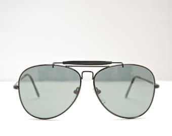 509ef09b16 Vintage BUSHNELL Black Outdoorsman Aviator Sunglasses   Retro Collectable  Rare  1835