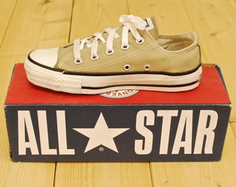 83fe16a294c0 Vintage 1990 s Deadstock Olive Grey CONVERSE CHUCK TAYLOR Lo-Top Sneakers    Size 3   Made in U.S.A.   Retro Collectable Rare
