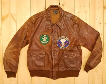 d9174f877ae Vintage 1942 WW2 Leather Type A-2 Flight   Aero Leather CLO. Co.   Bomber  Jacket   Retro Collectable Rare
