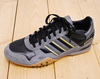 9981fec84 Vintage 1990 s Deadstock Black and Grey ADIDAS Running Shoes NOS   Sample  Prototype   Men s Size 9   Retro Collectible Rare