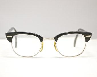 779fc41507c Vintage UOC Universal Optical Eyeglasses   USA 1950 s   Black and Grey Wood  Pattern   Retro Collectable Rare  1551