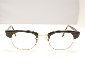 f6d0d027dda Vintage 1950 s 60 s ARTCRAFT DELEGATE Clubmaster Style Eyeglasses   Made in  USA   Retro Collectable Rare