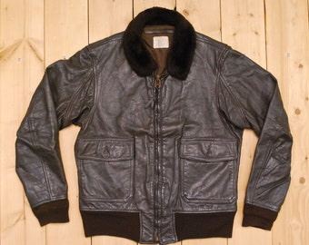 bde06d08d6c Vintage 1979 Brown US NAVY G1 Leather Flight Jacket   Ralph Edwards  Sportswear MFG. Co.   Retro Collectable Rare