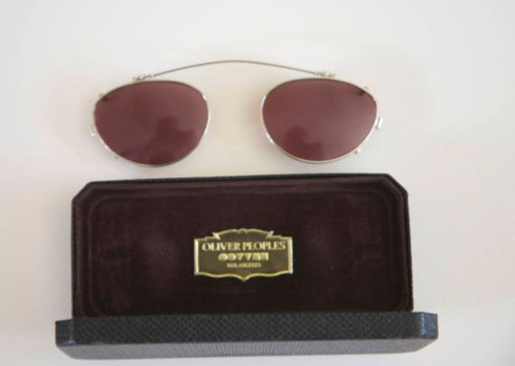 46f2765c5f Vintage OLIVER PEOPLES Clip On Sunglass Lenses with Case