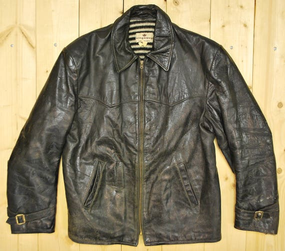 Vintage 1950/'s Black Leather Motorcycle Jacket Size X-Small  Size 0