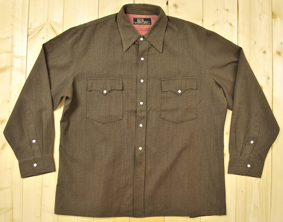Vintage 1940's/50's Brown Gabardine Western Shirt