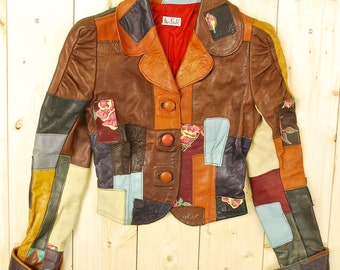 Vintage 1970's HENRI BENDEL Patchwork Leather Jacket / Handmade / Hand Painted / Retro Collectable Rare