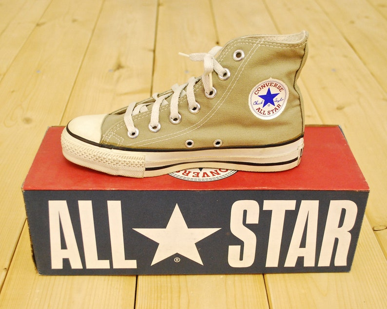 0bd64afc96676b Vintage 1990 s Deadstock Flint Khaki CONVERSE CHUCK TAYLOR Hi-Top Sneakers    Size 3   Made in U.S.A.   Retro Collectable Rare