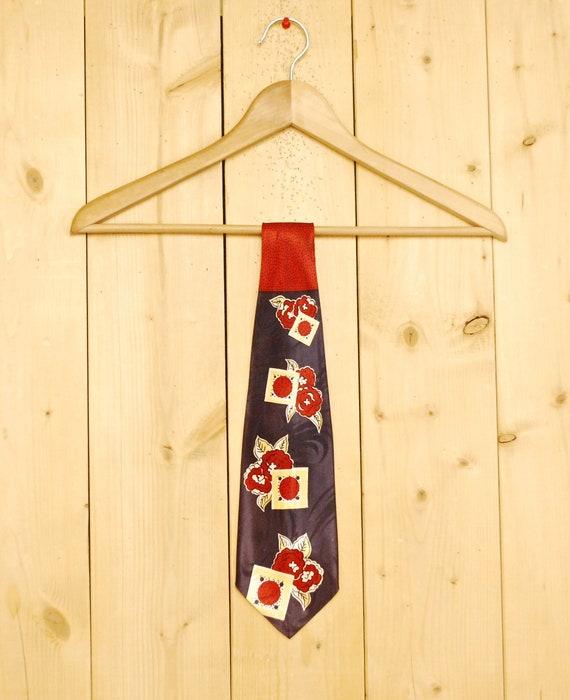 Vintage 1930's/40s Burgandy Necktie / Abstract Mot
