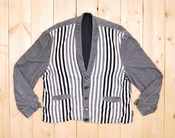 Vintage 1950's Grey Striped Men's Cardigan Sweater