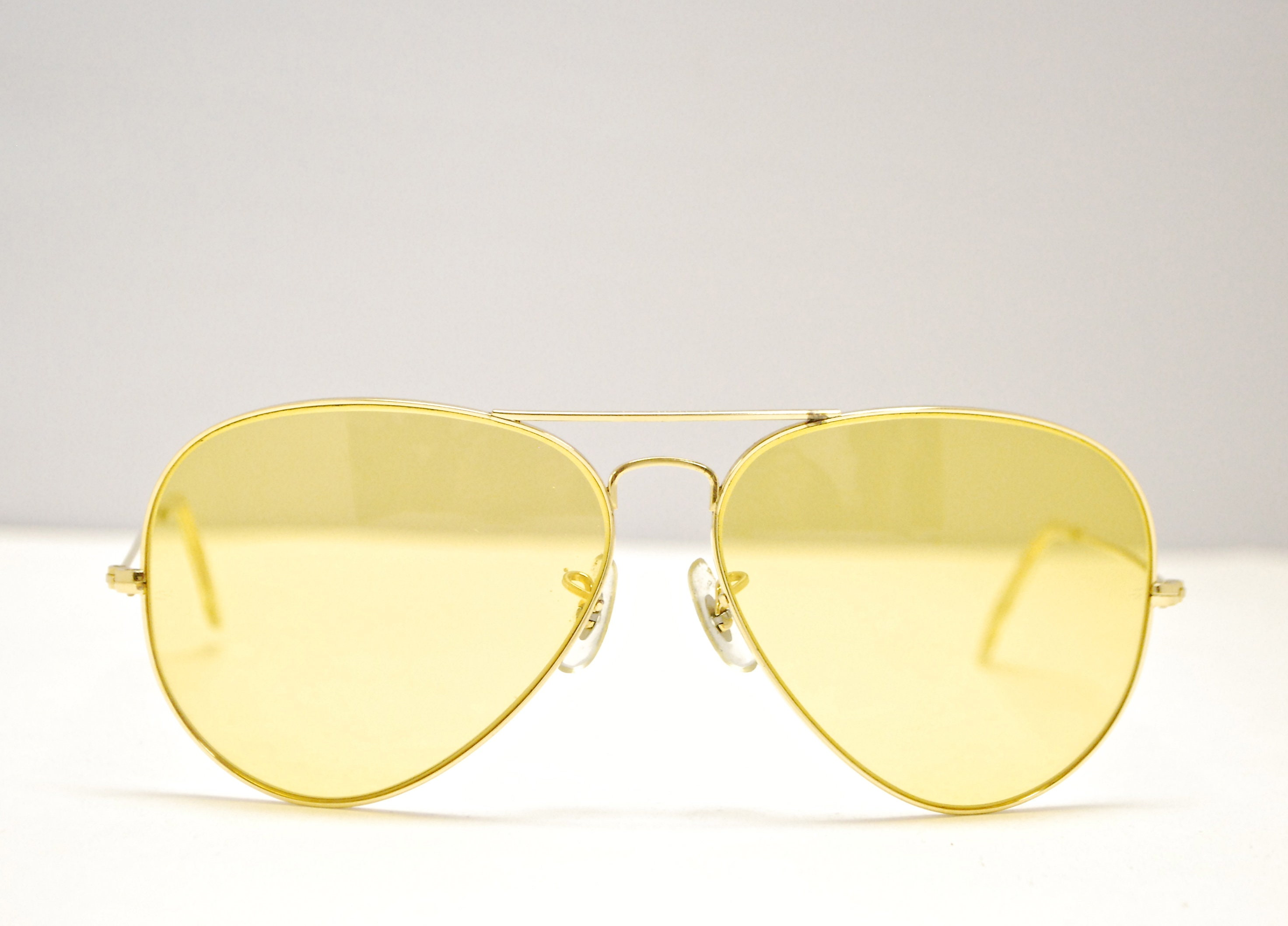 b17bff61ae Vintage RAY BAN Yellow Lens AVIATOR Sunglasses   Bausch   Lomb