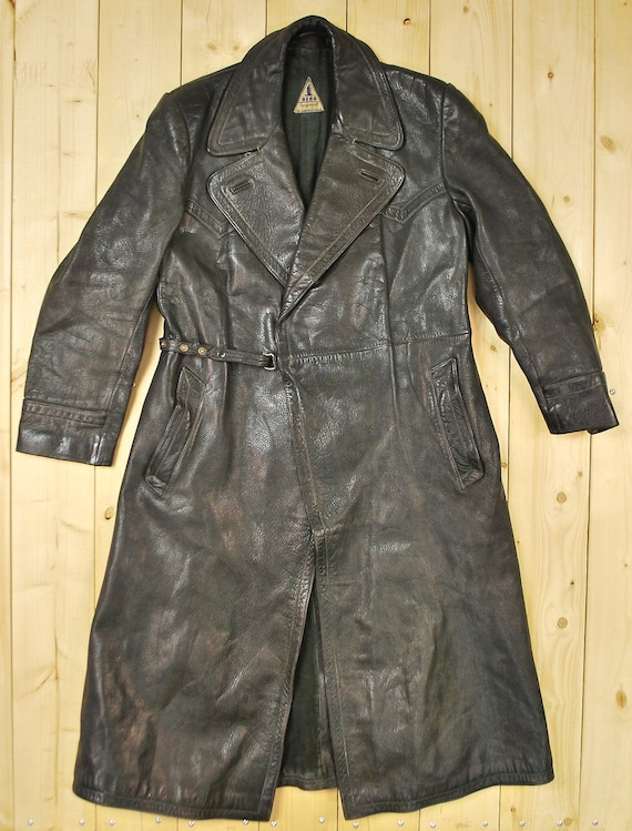 best authentic most popular where to buy Vintage 1940's AERO Full Length German Police Motorcycle Jacket / Retro  Collectable Rare