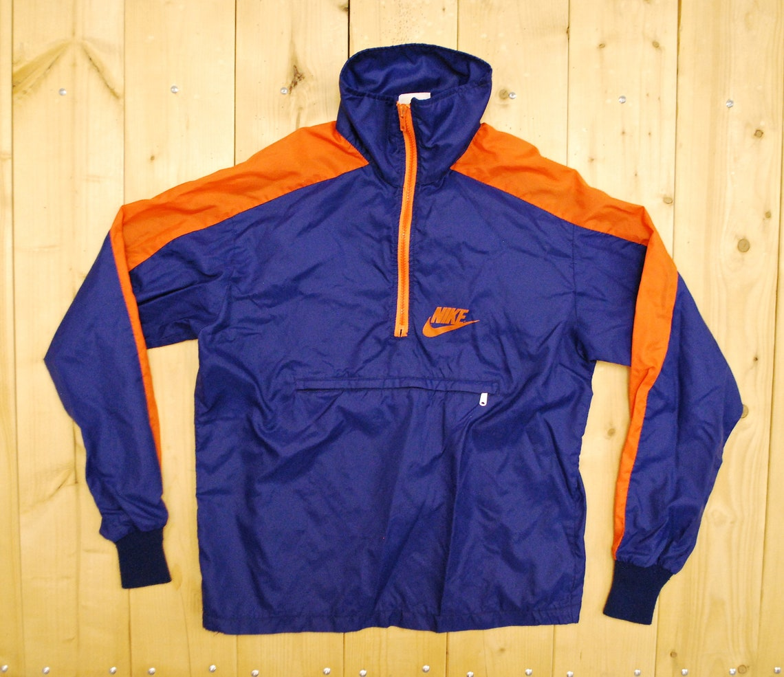Vintage Early 1970's/80's Nike Orange Swoosh Nylon Windbreaker / Made In U.s.a. Retro Collectable Rare