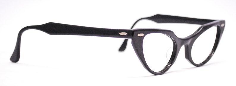 Vintage 1950's BAUSCH & LOMB Black Cat Eye Eyeglasses / Retro Collectible Rare #1027