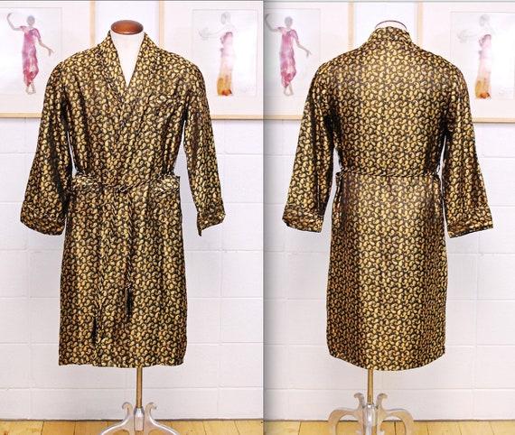1930's/40's Black and Gold STEPHAN Men's Robe / Sm