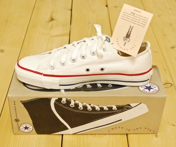 Vintage 1990's Deadstock Optical White CONVERSE CHUCK TAYLOR Lo Top Sneakers Size 6 Made in U.S.A. Retro Collectable Rare