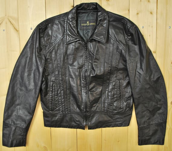 Vintage 1970's Black Leather Motorcycle Jacket / J
