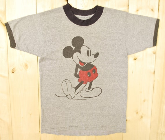 Vintage 1970's MICKEY MOUSE Grey Ringer T-Shirt /