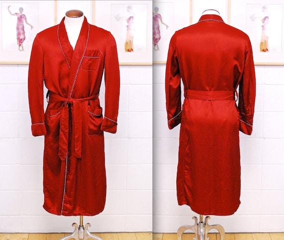 Vintage 1930's/40's Red Men's Robe / Smoking Jacke
