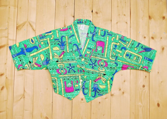 Vintage 1980's/90's Neon RAVE Cropped Top Shirt /