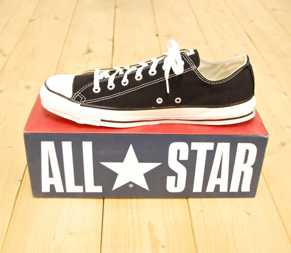 Vintage 1990's Deadstock Black CONVERSE CHUCK TAYLOR Lo Top Sneakers Size 13 Made in U.S.A. Retro Collectable Rare