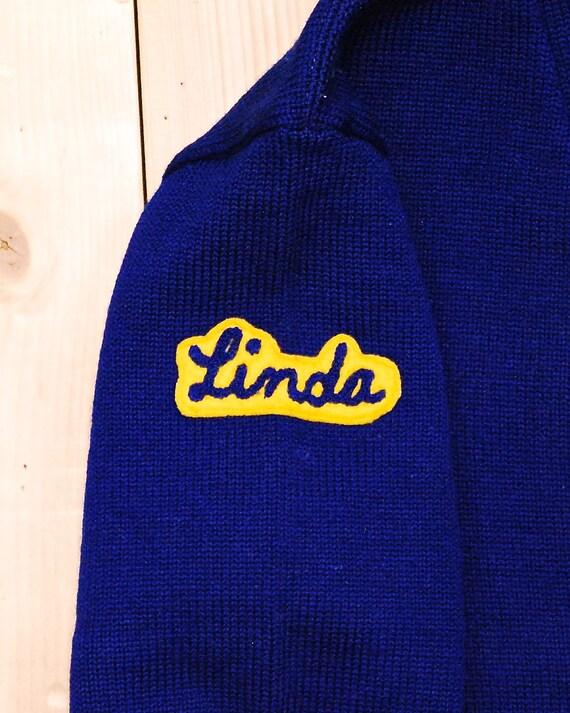 Vintage 1950's/60's Dark Blue Wool VARSITY LETTER… - image 3
