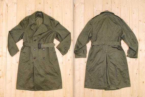 Vintage 1950's/60's US Army Olive Green Trench Coa