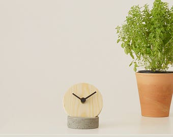 Wooden Table Clock with Concrete Stand, Handmade Desk Clock, Wooden Cement Clock  Holder.