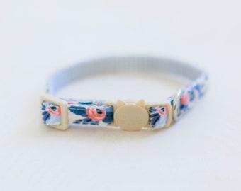 Blue Cat Collar, Blue Kitten Collar, Rifle Paper Co, Floral Cat Collar, Girl Cat Collar, Feminine Cat Collar, Female Cat Collar, Breakaway