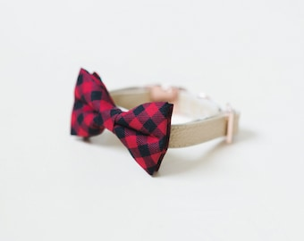 Red Buffalo Plaid Dog Collar, Red Plaid Cat Collar, Plaid Dog Bow, Plaid Kitten Cat Bow, Rose Gold Collar, Gold Buckle, Chic Fashion Collar