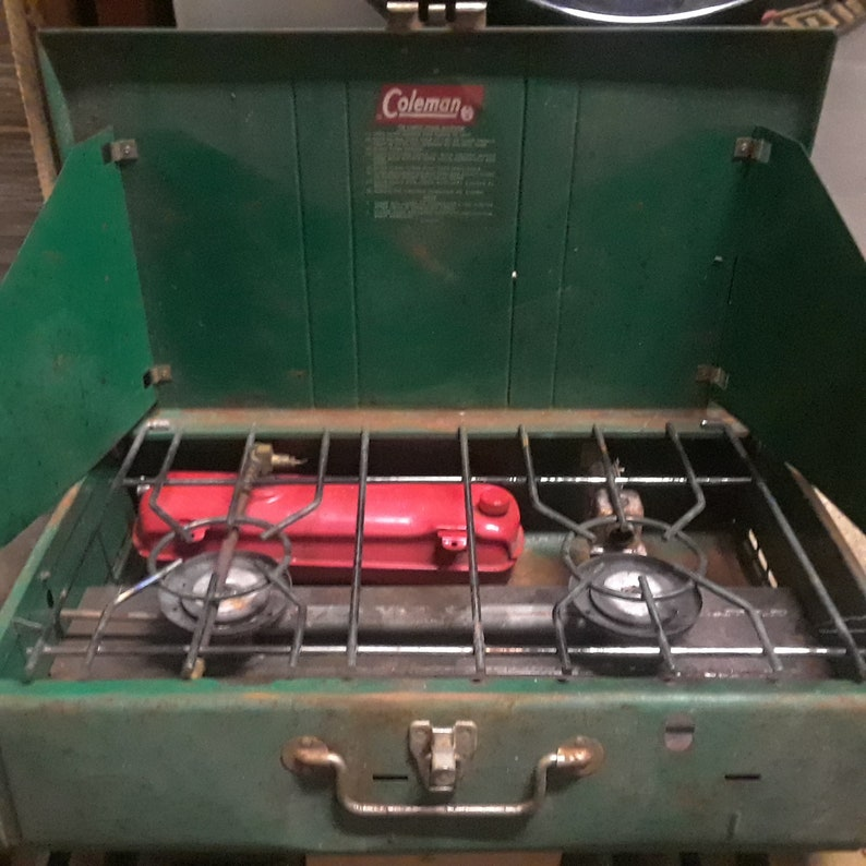 Vintage Coleman 413G Two Burner Fuel Campstove Made in USA Wichita, Kansas