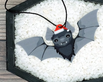 Santa Bat Ornament Goth Gothic Christmas Holiday Horror Creepy Odd Ornament Fun Gift