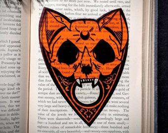 Cat Skull Planchette Orange Clear Bookmark Feline Ouija Spirit Board Goth Gothic Halloween Horror Creepy Oddities