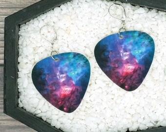 Galaxy Space Nebula Earrings Guitar Pick Earrings Punk Rock Earrings Fun Gift