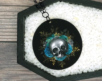 Skull Blue Floral Necklace Statement Nature Necklace Bridesmaid Gift Wedding Gift Durable Wearable Art