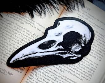 Raven Skull Bookmark Nature Natural Corvus Corax Bird Goth Gothic Halloween Horror Creepy Oddities