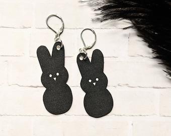 Black Goth Peeps Candy Earrings Gothic Rabbit Bunny Easter Zombie Jesus Day Odd Creepy Horror Earrings Fun Gift Shrink Plastic