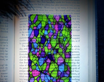 Clear Bookmark Stained Glass Mosaic Green Purple Goth Gothic Halloween Horror Creepy Oddities