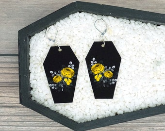 Yellow Floral Flowers Coffin Earrings Halloween Gothic Goth Earrings Durable Wearable Art