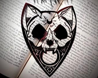Cat Skull Planchette Clear Bookmark Feline Ouija Spirit Board Goth Gothic Halloween Horror Creepy Oddities