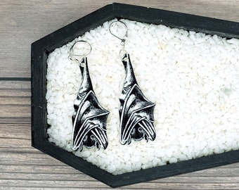 Hanging Bat Earrings Goth Gothic Scary Odd Creepy Halloween Horror Earrings Fun Gift