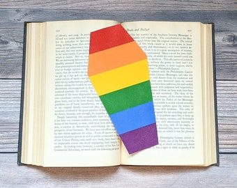 Gay Pride Rainbow Bookmark Goth Gothic Coffin LGBTQIA+ Queer
